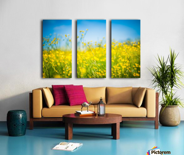 Summer flowers, yellow and blue Split Canvas print