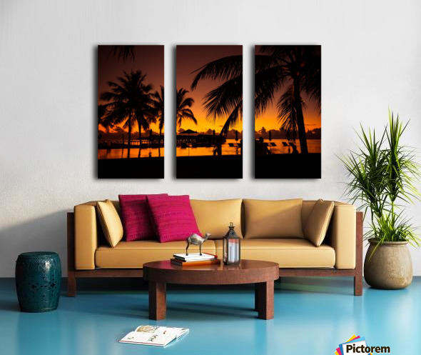 Palm trees silhouette on sunset tropical beach Split Canvas print