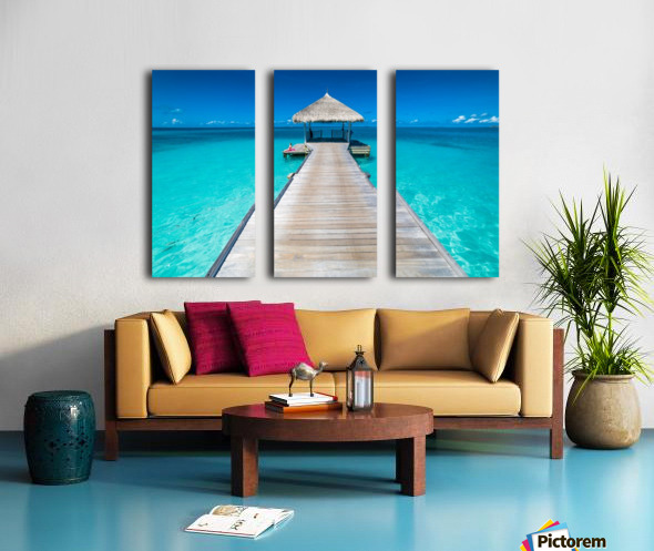 View of water bungalow in tropical island, Maldives, Indian ocean Split Canvas print