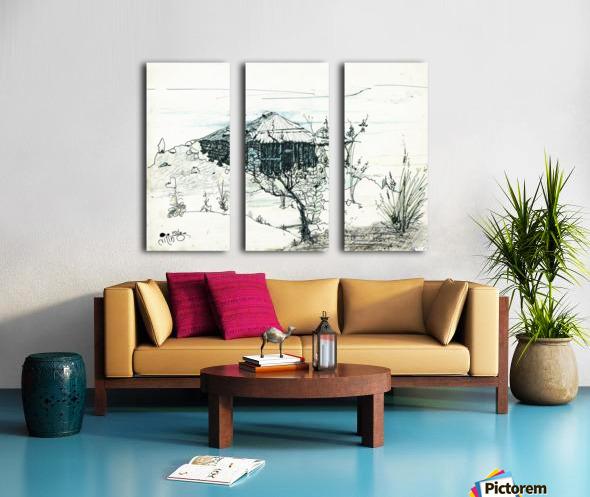 Hut on hill Split Canvas print