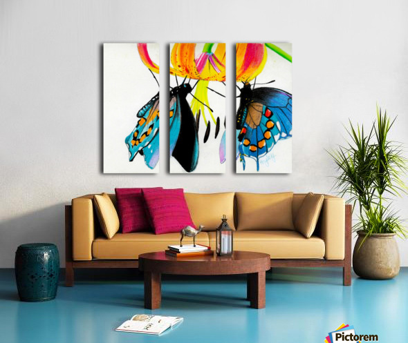 Butterflies and Lily Split Canvas print