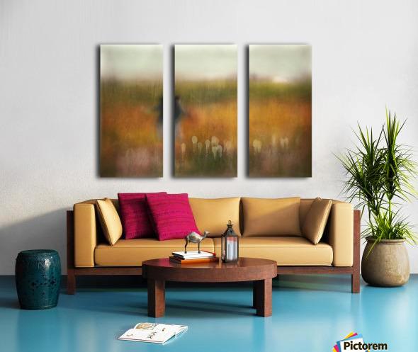 A Girl and Bear grass Split Canvas print