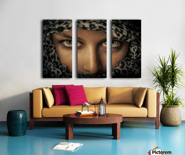 Woman with scarf Split Canvas print
