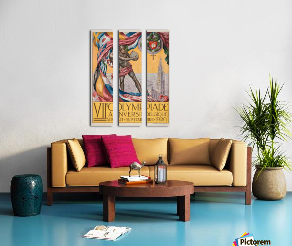 VII Olympiade, Anvers lithographic poster Split Canvas print