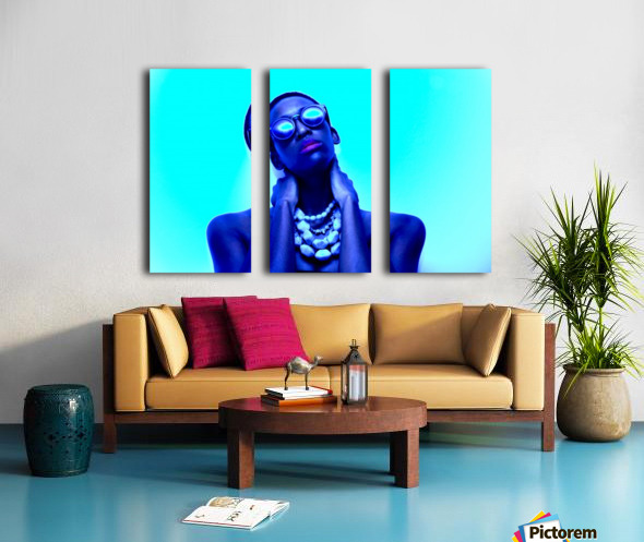 Blue Black Split Canvas print