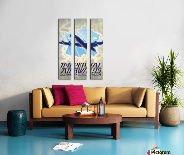 Imperial Airways London - Australia vintage travel poster Split Canvas print
