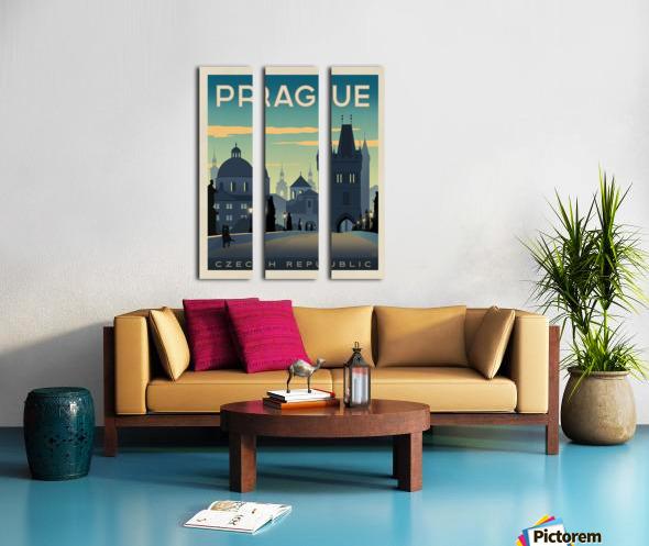 Prague vintage travel poster Split Canvas print
