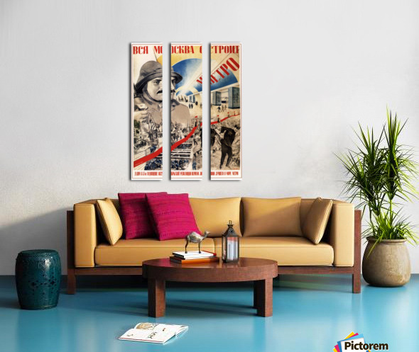 All of Moscow is building the Metro propaganda poster Split Canvas print