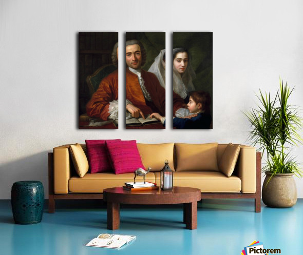 Dr Savatore Bernard with his wife and son Split Canvas print