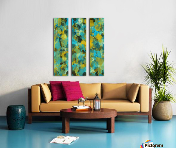 Paint Splattered Graffiti Green Blue Splash Split Canvas print