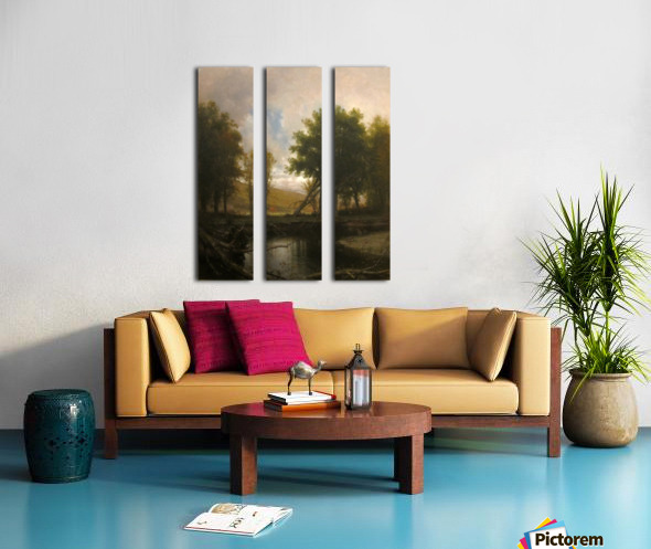 Landscape with Stream and Deer Split Canvas print