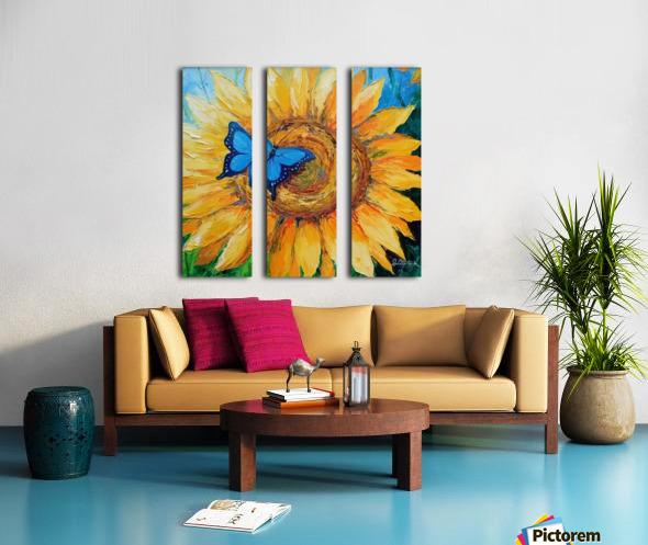 Подсолнух и бабочка Split Canvas print