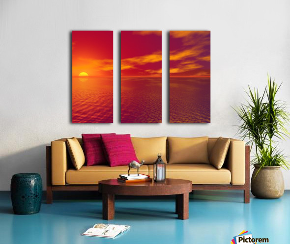 Sunset Over The Water Split Canvas print