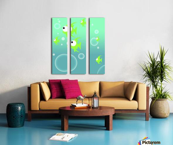 Illustration Of Fish And Bubbles Split Canvas print