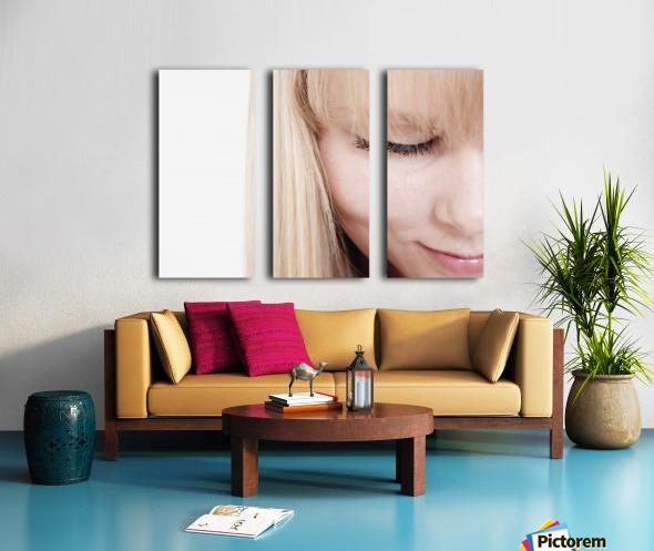 Closeup Of A Woman's Face Split Canvas print