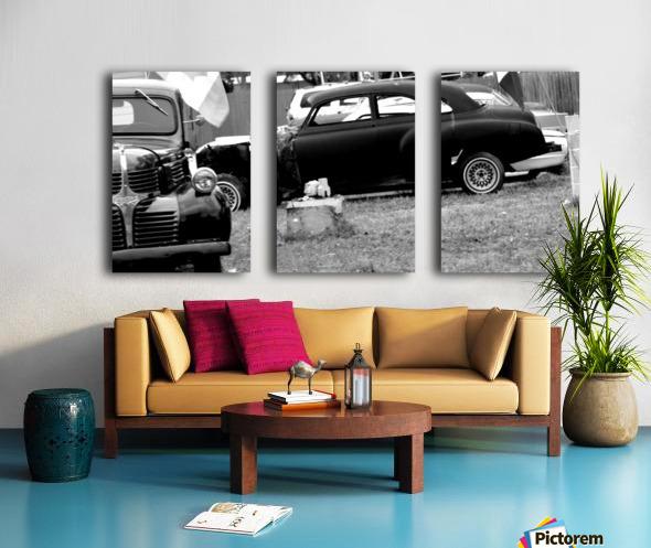 Black and White Vintage Cars Split Canvas print