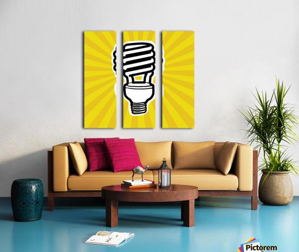 Compact Fluorescent Lightbulb Split Canvas print