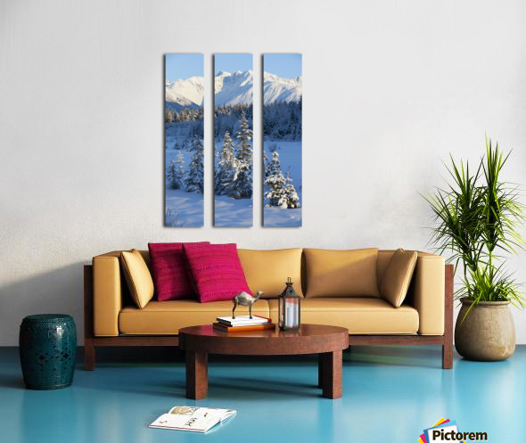 Scenic View Of Chugach Mountains And Snowcovered Landscape, Southcentral Alaska, Winter Split Canvas print