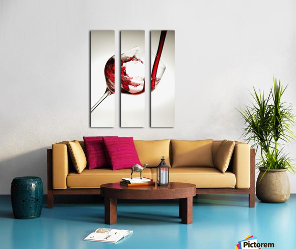 Red wine pouring into a glass Split Canvas print