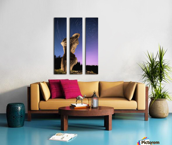 Light painting on monolith and star trails, Anse des Bonnes Femmes at Ile Niapiskau, Mingan Archipelago National Park Reserve of Canada, Cote-Nord, Duplessis region; Quebec, Canada Split Canvas print