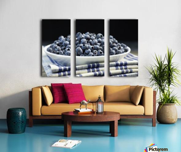 Bowl of blueberries; Quebec, Canada Split Canvas print