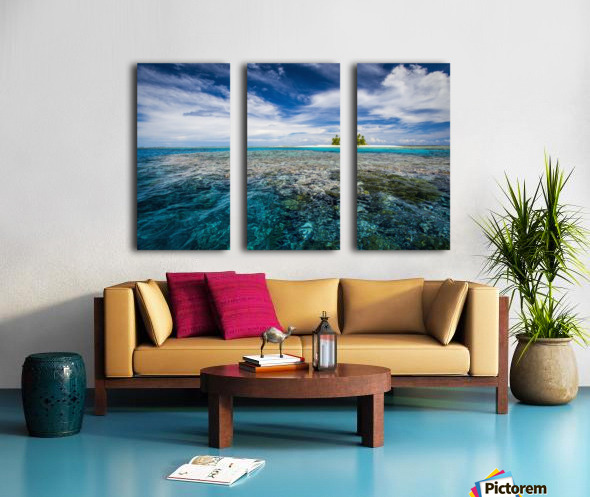 An island that forms part of the marine park, near the Tuvalu mainland; Tuvalu Split Canvas print