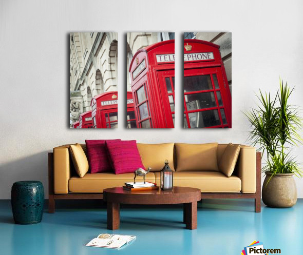 Telephone boxes in a row; Blackpool, Lancashire, England Split Canvas print