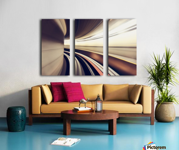 Long exposure while taking underground transportaion giving a time warp feel; Seattle, Washington, United States of America Split Canvas print