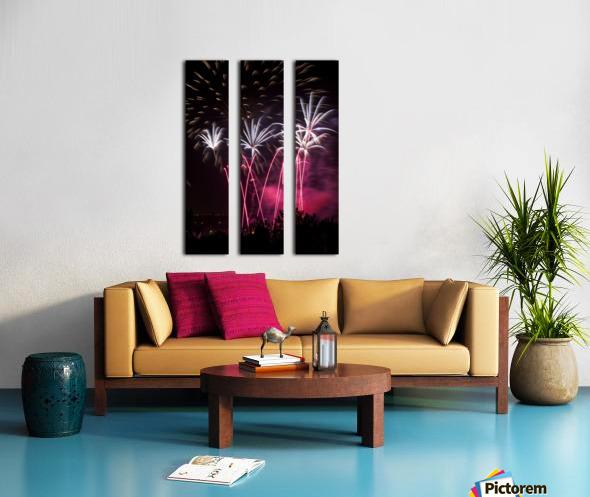 Colourful fireworks at nighttime; Calgary, Alberta, Canada Split Canvas print