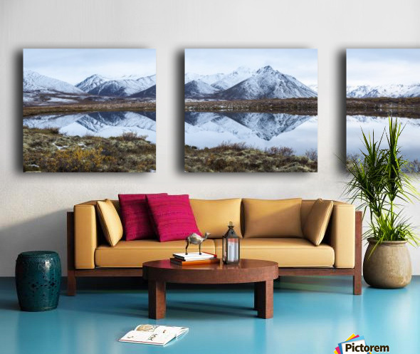 Mount Adney reflected in a pond along the Dempster Highway in the northern Yukon; Yukon, Canada Split Canvas print