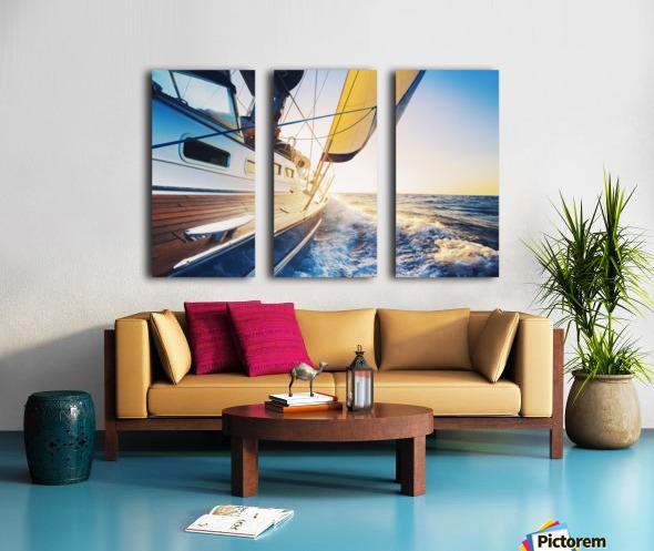 sailing into the sunset Split Canvas print