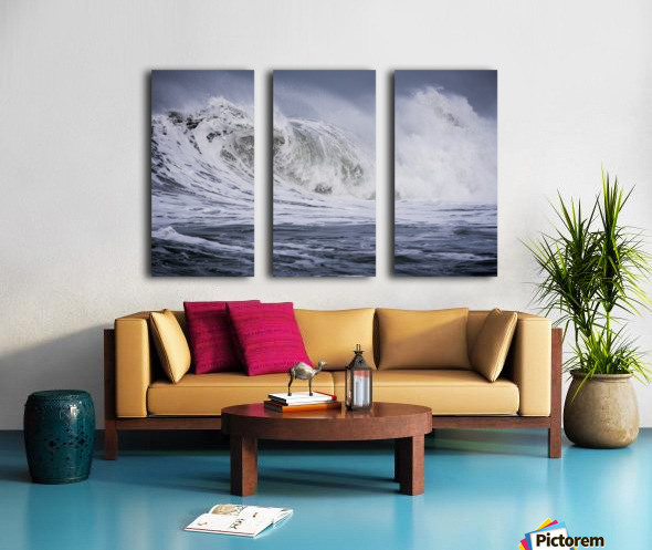 A large wave breaks on a stormy morning; Seaside, Oregon, United States of America Split Canvas print