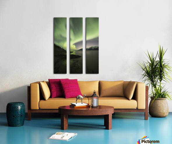 Aurora Borealis dancing above the Chugach Mountains and Turnagain Arm, Kenai Peninsula, Southcentral, Alaska Toile Multi-Panneaux