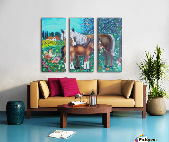 A mare and her foal. Split Canvas print