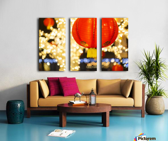 Red and gold Chinese lantern with sparkling white lights in the background, Granville Island; Vancouver, British Columbia, Canada Split Canvas print