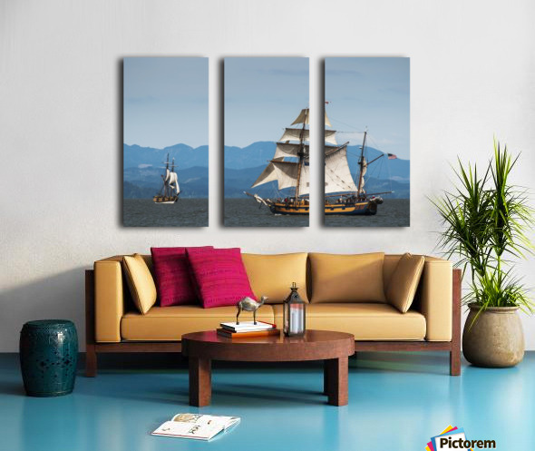 Tall ships sail on the Columbia River near Astoria; Oregon, United States of America Split Canvas print