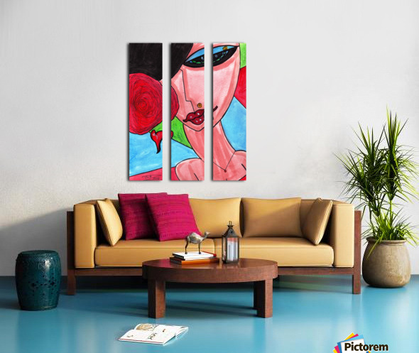 Brunette with Flowers Split Canvas print