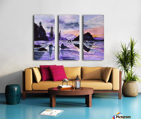 Sunrise Reflection at Second Beach Split Canvas print