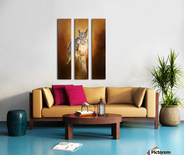 Great Horned Owl In Autumn Split Canvas print