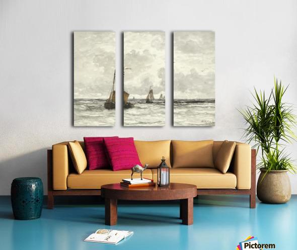 Vissersschepen in de branding Split Canvas print