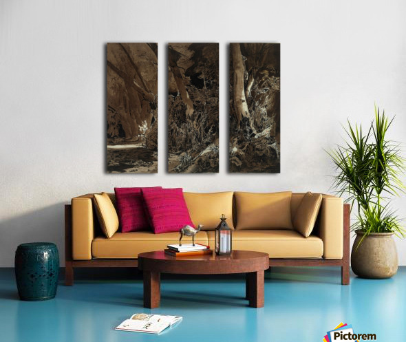 Forest landscape with flowing water and two hunters Split Canvas print