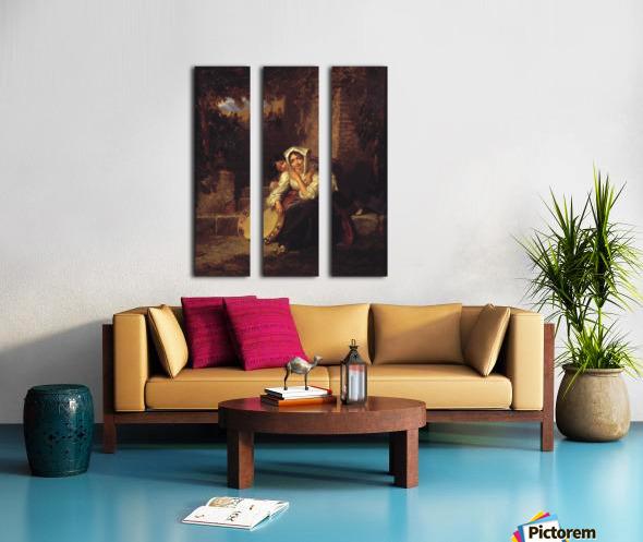 Two girls and a tamburine Split Canvas print