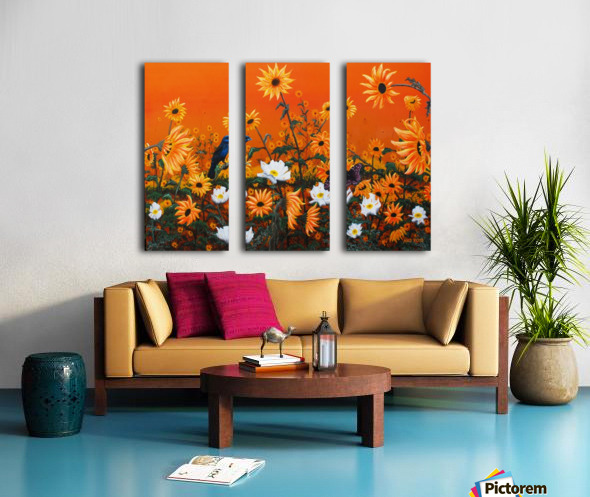 Sunflowers & Prickly Poppies Split Canvas print