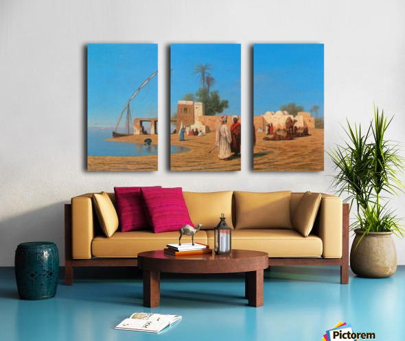 A Village on the Shores of the Nile Split Canvas print