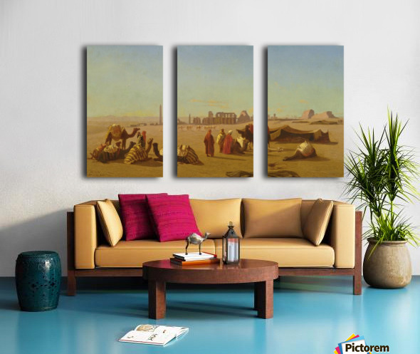 A caravan at rest, the Temple of Karnak, Thebes in the distance Split Canvas print