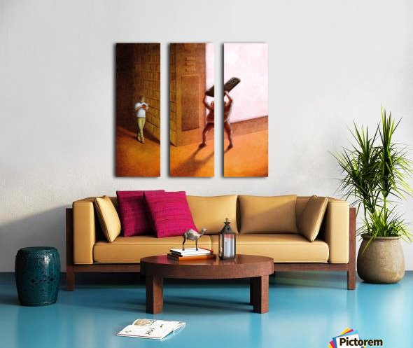 TV and Books Split Canvas print