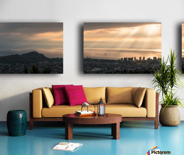 Sunset over Honolulu Split Canvas print