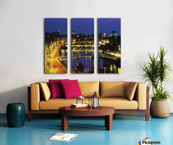 Dublin, Co Dublin, Ireland; View Of The River Liffey At Nighttime Split Canvas print