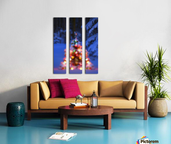 Illuminated Christmas Tree In A Forest Split Canvas print