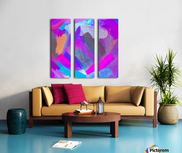 pink brown purple blue painting abstract background Split Canvas print